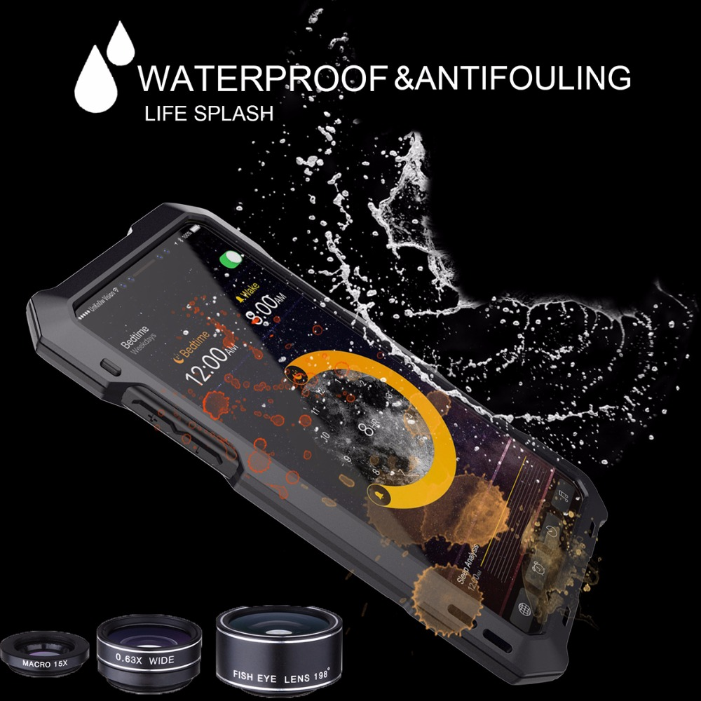Newest 3 in 1 Back Fisheye Kits Wide Angle Macro Camera Lens Antiknock Waterproof Diving Protective Case For iPhone X / XS
