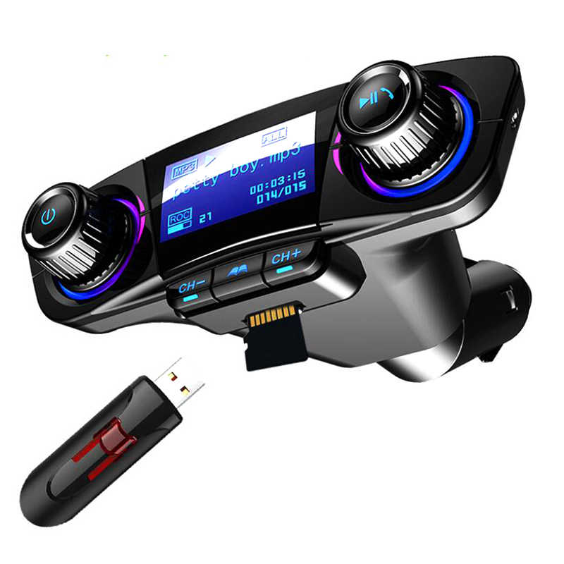 Fm transmissor aux modulador bluetooth handsfree carro kit áudio do carro mp3 player com carga inteligente dupla usb carregador de carro-estilo