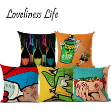 Pop Art Cushion Cover Hamburger Ring Pillow Cases Beauty Girl Pillow Covers Thin Linen Cotton Bedroom Sofa Decoration Cojines(China)