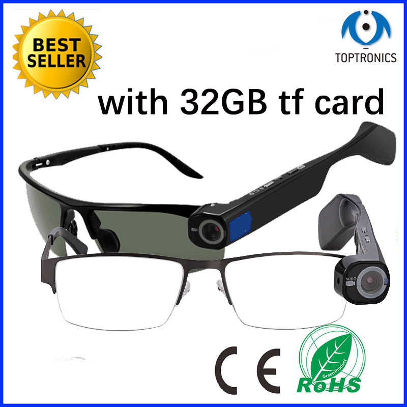 hot sales fashion style smart wifi glasses 1080P Video Recordable eyeglasses wit