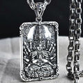 Hot Sale 100% real 925 sterling silver necklace pendant for women or men Goddess of Mercy Heart Sutra safe life tag jewelry HYX2