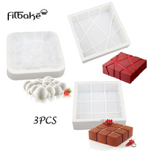 3PCS Different Forms Cloud Bubbles Cube Square Shaped Baking Silicone Cake Molds Mousse Pan Decorating Tools