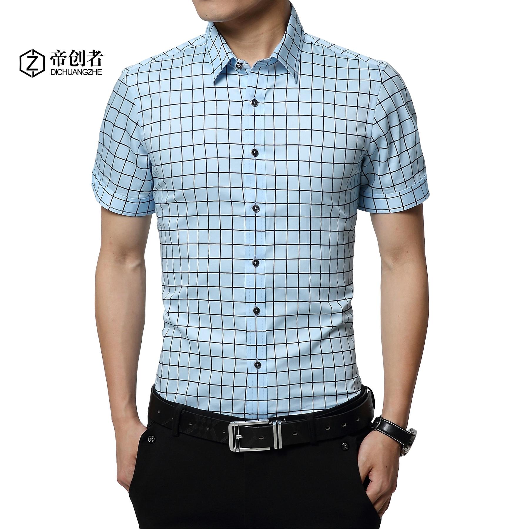 2016 Brand Men Short Sleeved Shirt Plaid Cotton Men 39 S