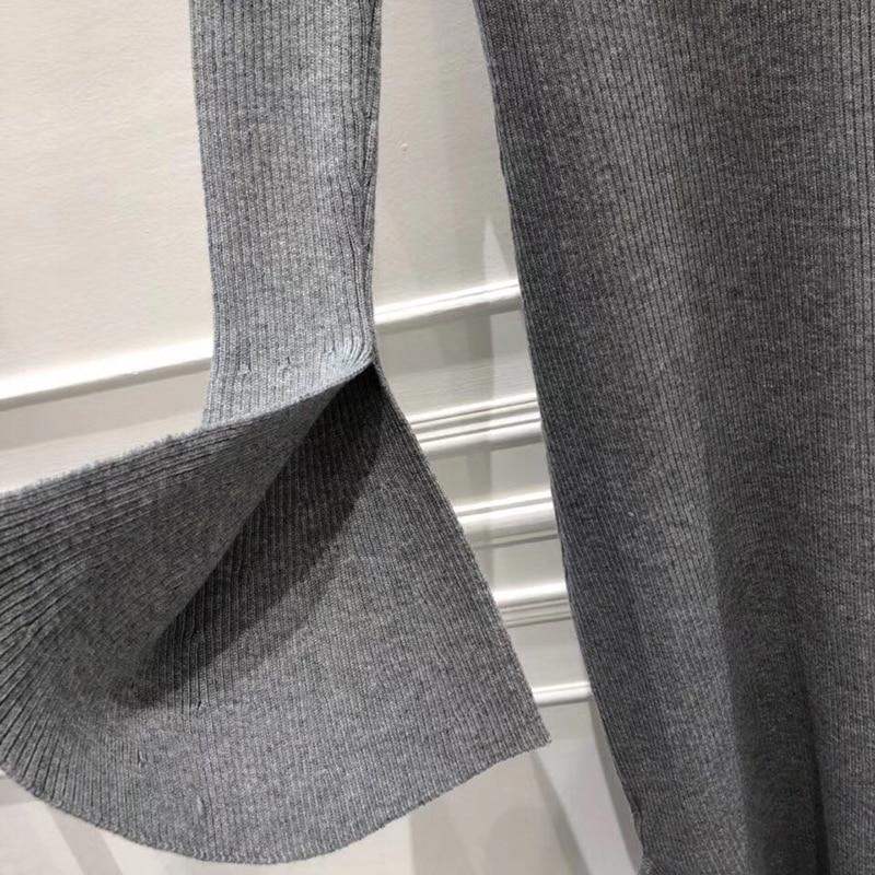 Robe Élégant Avec Haute Noir Femmes Manches Ceintures Robes gris 2019 Hiver Tricoté Automne Des Longues Taille dgqOwAgT