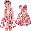 Розничная Новый Летний девочка платье девушки Красивая роза принцесса платья без рукавов детские рождественские одежда бесплатная доставка