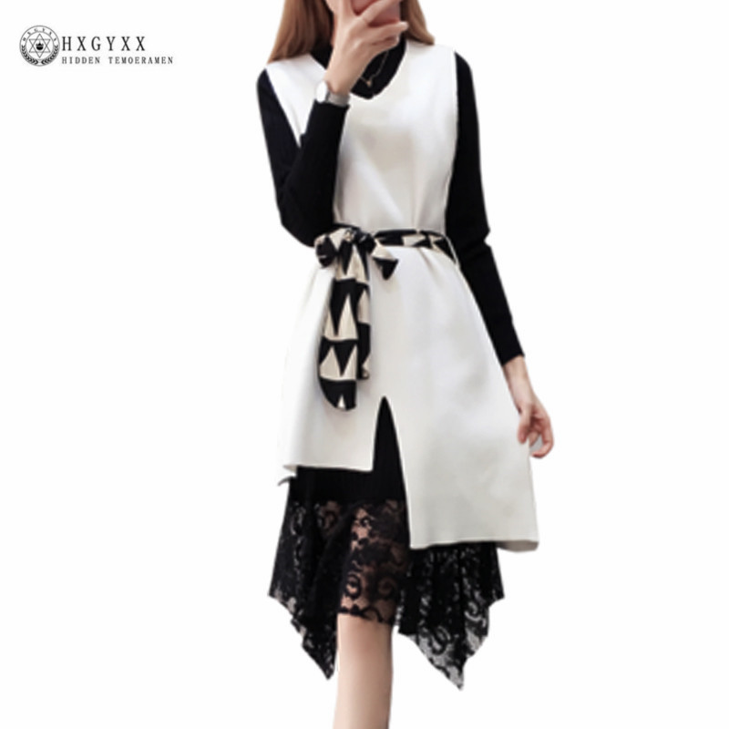 2018 Women Cashmere Sweaters Dress Sets Black White Long Lace Stitching Skirts 2 Piece Spring Autumn Female knitted Suit OKB619