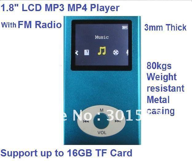 (blue)100% cheap New Gen 16GB  MP4 Player 1.8'' Video Radio FM MP3 MP4 & Free shipping