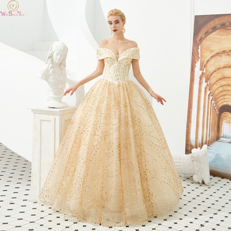 Elegant Gold Quinceanera dress 2019 Off The Shoulder Ball Gown Luxurious Sequined Lace Up Long Prom Formal Tulle Robe De Soiree