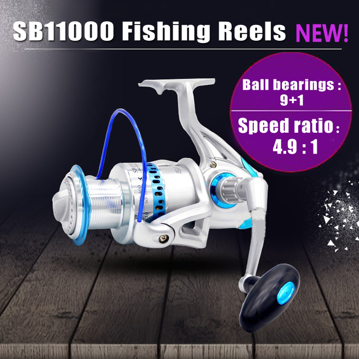 цена на SB11000 4.5:1 High Speed Saltwater Spinning Fishing Reel Metal Large Sea Fishing Reels