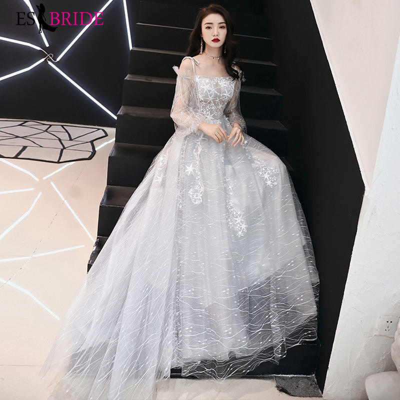 Grey Long Formal   Dress   2019 Elegant   Evening   Gowns Birthday Party   Evening     Dresses   Tulle Long Sleeve   Evening     Dress   ES2505
