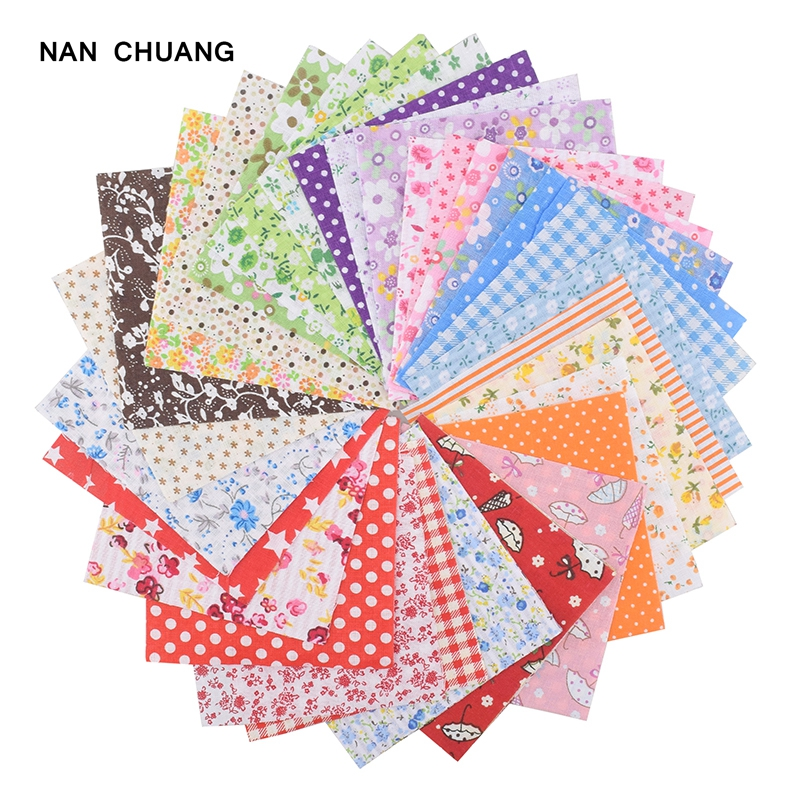 NanChuang Random Color Thin Cotton Fabric Printed Patchwork Bundle For Sewing Fat Scrapbooking Pattern 10x10cm 80Pieces/Lot