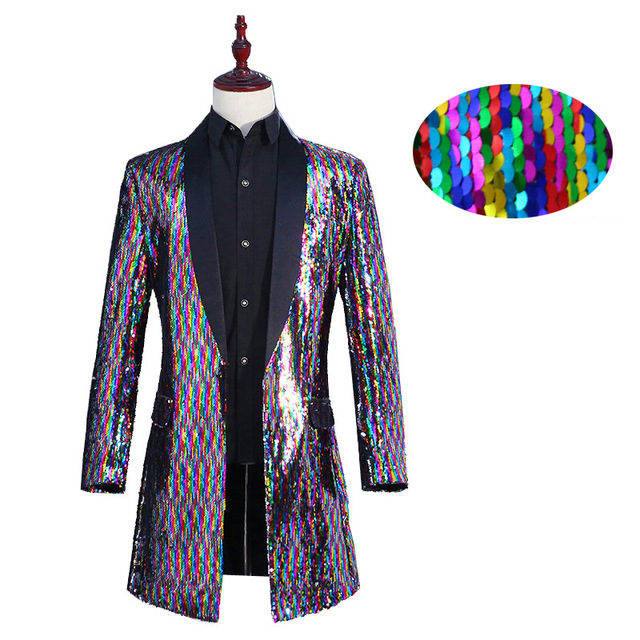 2019 Clothes Mens Stage Suit Jackets Long Color Changing Windbreaker Colorful Sequins Men Jackets Casual Turn-down Collar   Trench