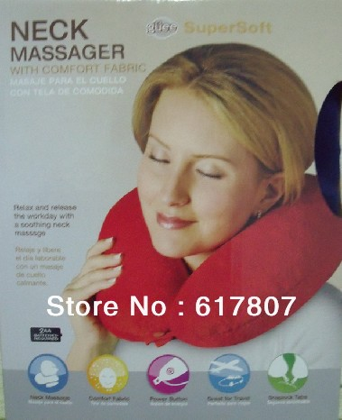 Hot!! Free Shipping U  massage device u pillow electric cervical vertebra massage pillow neck massage pillow hot selling free shipping bone shape massage pillow relax car massage pillow