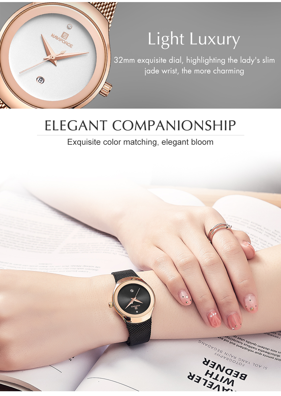 NAVIFORCE Top Luxury Brand Women Watches Female Fashion Simple Quartz Watch Ladies Classic Stainless Steel Mesh Belt Wrist Watch 4