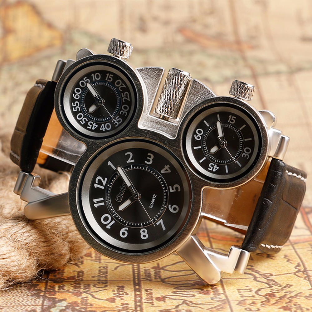 Unique Watches for Men Three Time Zone Large Big Size Irregular Dial Real Leather Strap Military Men's Wristwatches Male Clock 4