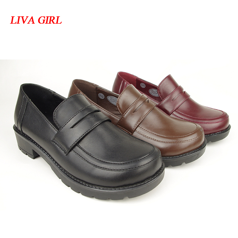 Japanese School Students Uniform <font><b>Shoes</b></font> Uwabaki JK Round Toe <font><b>Women</b></font> Girls <font><b>Lolita</b></font> Cosplay Low Heels image