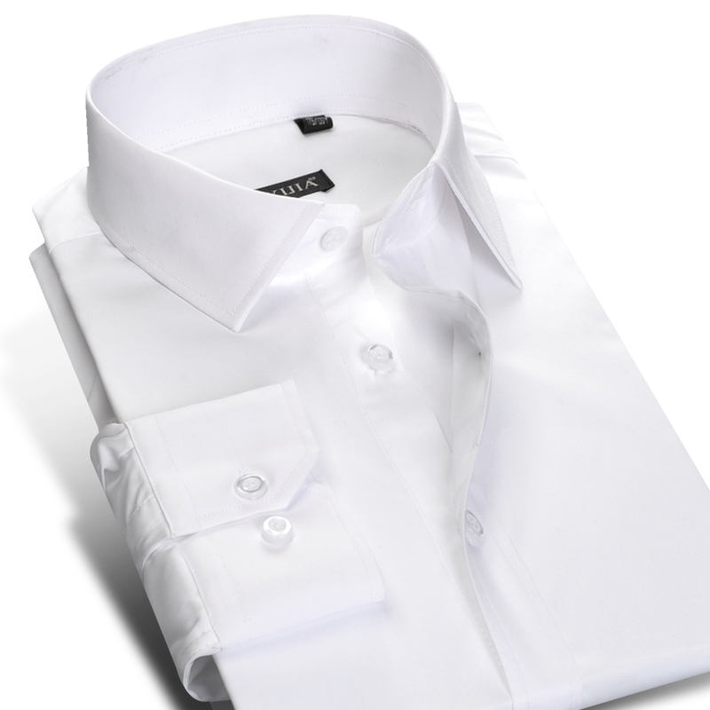 2017 spring long sleeve white solid mens dress shirt 100 for Mens high collar dress shirts