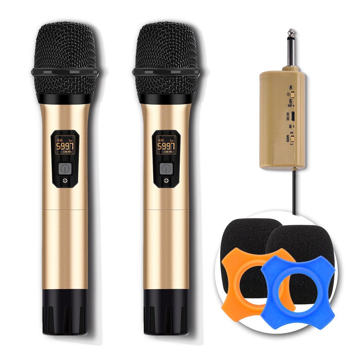 Système de Microphone sans fil double micro dynamique portable UHF avec adaptateur 3.5mm (double micro) pour ordinateur système karaoké KTV