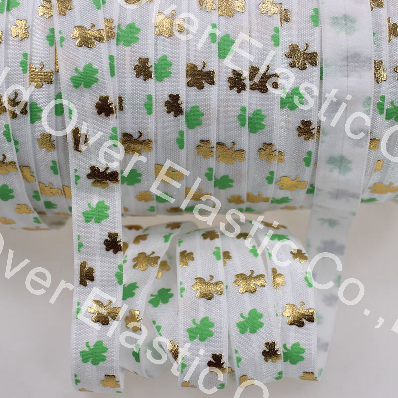 5/8 gold foil & oil printed leaves fold over elastic foe for St.PatricksDay decorative accessaries