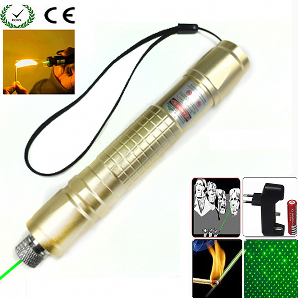Hunting Green Laser Pointer 532 nm 10000m Hang-type Lazer Pen Long Distance Lasers Sight + EU Charger + 18650 Battery