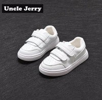 UncleJerry Genuine Leather Kids Casual shoes Breathable Children White shoes Boys Girls Comfortable Soft Sneakers for baby