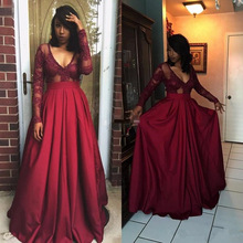 2017 Burgundy Sexy Long Sleeves A-Line Long Prom Dresses Custom Made Appliqued Satin Evening Gowns African Evening Gowns
