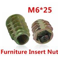 50pcs M6*25 Furniture Nut Cabinet Connecting Screw Internal Thread Insert Nuts/ Hex Drive Head Decoration Wood Insert Nut
