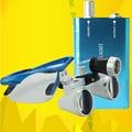 2016 3.5x420mm Lupa Binocular Cirúrgica Dental Lupas Lupa Luz AZUL Cabeça