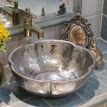 Estilo antiguo, Europeo arte en porcelana fregadero, lavamanos de encimera hecho a mano cerámica lavabo encimera de baño de cerámica plateada