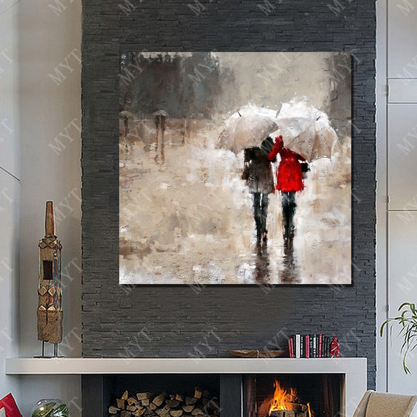 Girls under the Umbrella Raining Landscape Oil Painting Home Decoration Living Room Decorative Fine Art Picture No Framed in Painting Calligraphy from Home Garden
