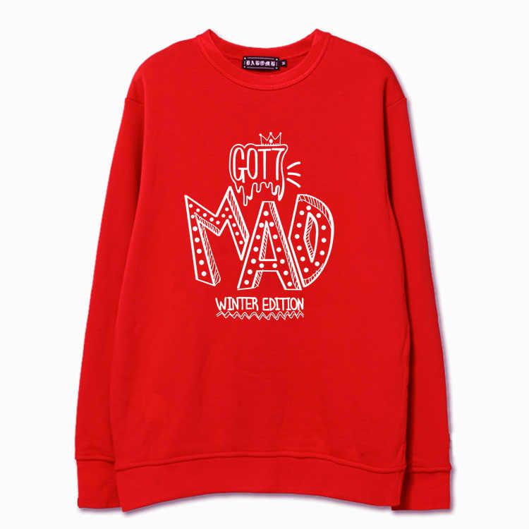Moda kpop got7 mad impressão o pescoço pulôver com capuz da camisola para mulheres dos homens jackson marca sudaderas 5 cores