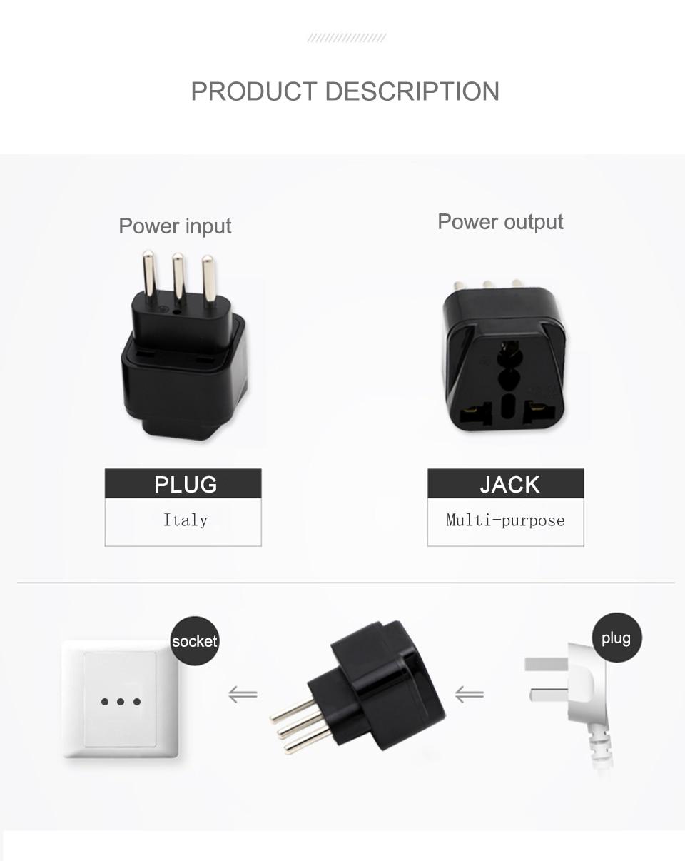 3-pin IT Conversion plug Universal UKUSEUAU to Italy Milan Chile Vatican Italian Travel AC Power Adapter Plug Converter (6)