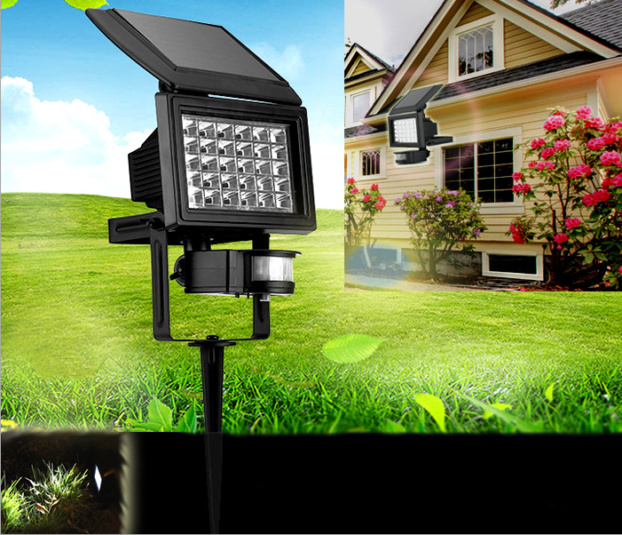 ФОТО 30LEDs brightness Solar Powered PIR Motion Sensor Light IP65 Outdoor Lawn Lamp Light Night for Garden Yard illumination