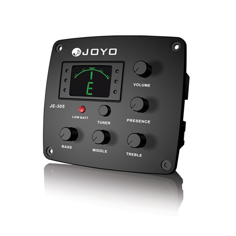 цена на JOYO JE-305 4 Band EQ  Equalizer with Tuner Bass Guitar Middle Treble Presto captador Low Battery light Free Shipping