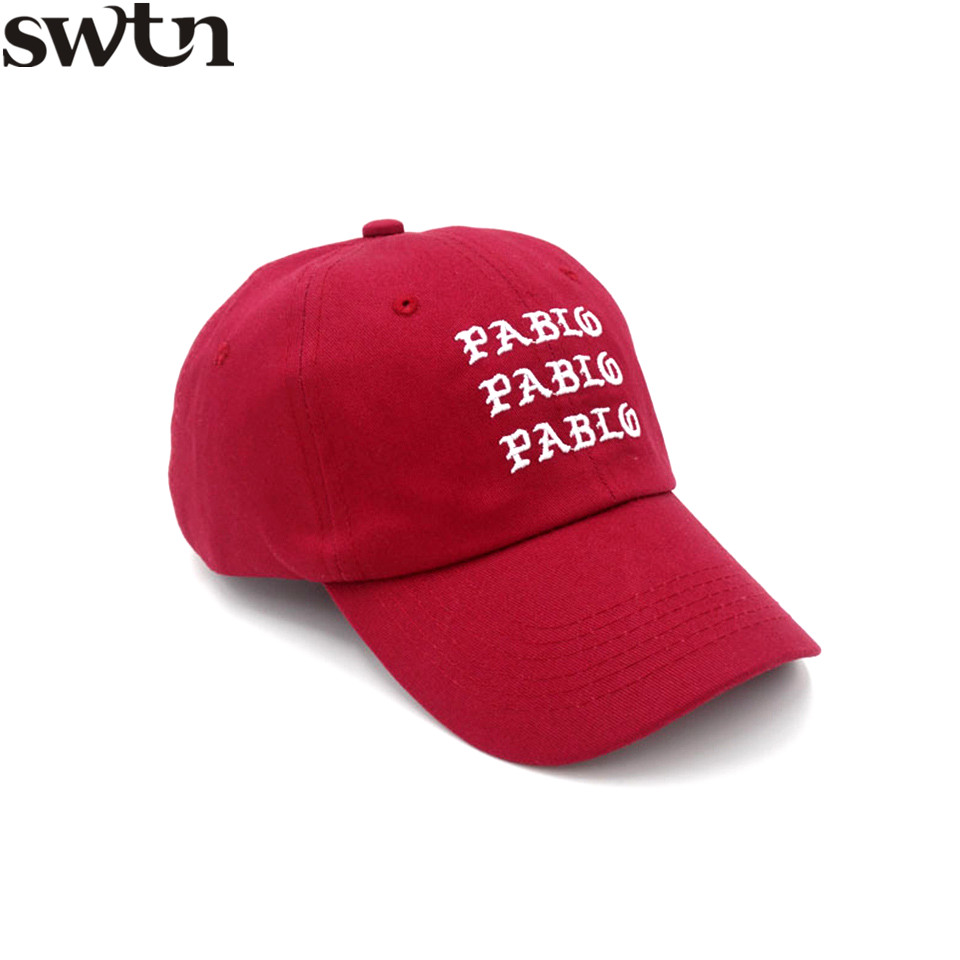 SWTN Letter Embroidery Pablo Baseball Cap Women Men 6 Panel Pink Dad Hats Unisex Cotton Cap gorras hombre casquette de marque i feel like pablo cappello in bordeaux yeezus yeezy kanye west the life of pablo baseball caps