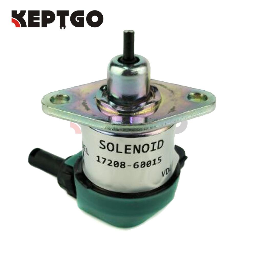 12V 17208-60016, 17208-60015, 17208-60010, 17208-60012 Fuel Shut Off Stop Solenoid Fits Kubota V1505 V1305 D1105 D1005 D905 engine spare parts flame out solenoid 17208 60016fuel shut off stop solenoid fits v1505 v1305