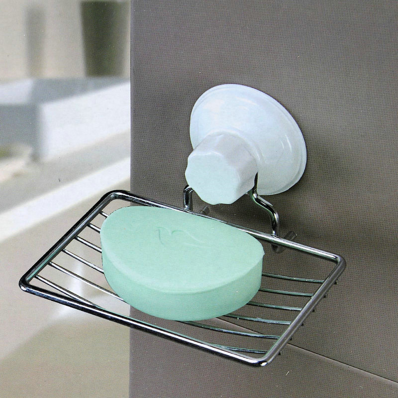 Stainless Steel Convenience Facility Classic Strong Suction Bathroom Shower Soap Dish Holder Cup Tray Basket Storage Rack