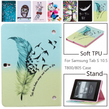 Case for Samsung Galaxy Tab S T800 T805 10.5 inch, Fashion Owl Tree Painted Flip PU Leather Cover for Galaxy SM-T800 T805 Tablet bk800 64 key bluetooth v3 0 keyboard w detachable pu case for samsung tab s t800 805 red