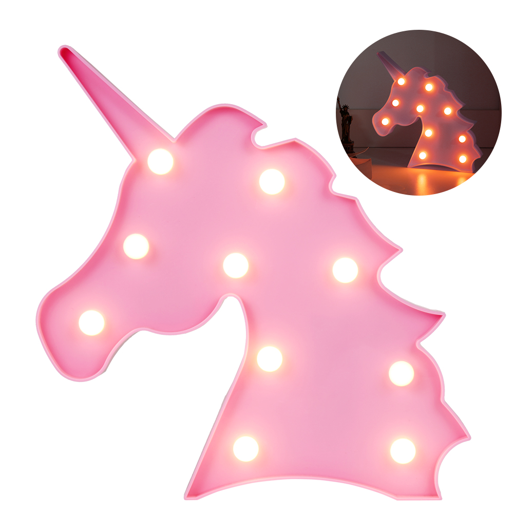 LEDGLE LED Night Light Kid Marquee Light Cute Unicorn Decoration Light with 10 LED Beads Warm White Creative Gift for Kids Pink cute frog style two white led flashing light keychain w sound effect pink 3 x lr1130