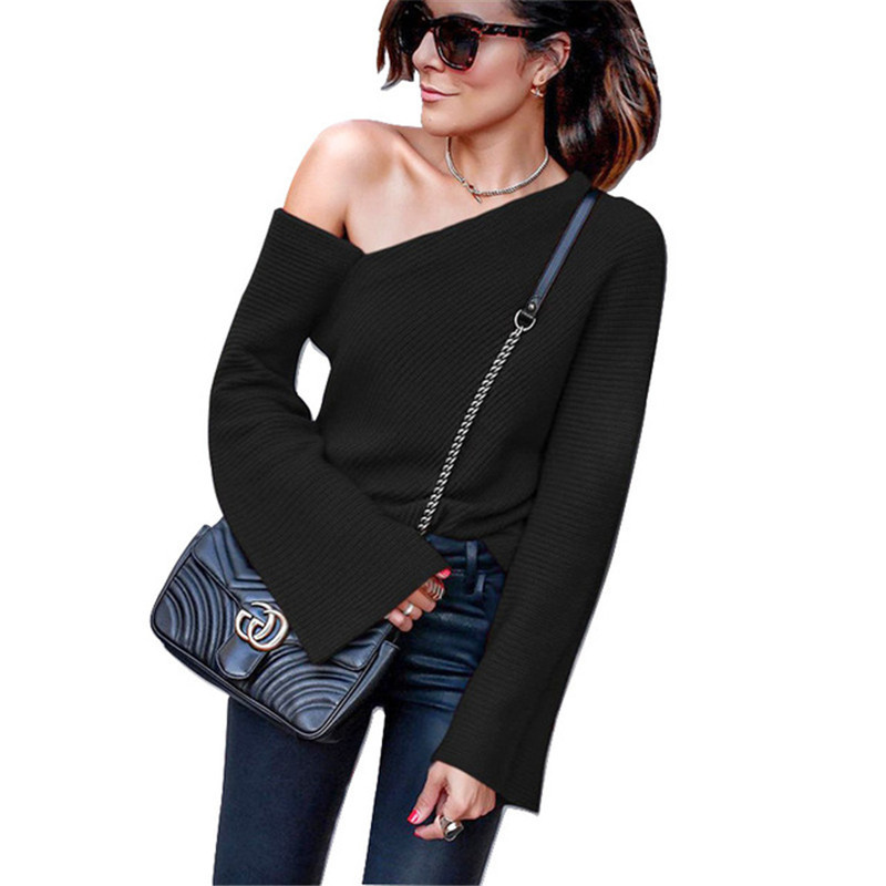 Dorvivon Women Pullovers And Sweater 2019 New Fashion Harajuku Sweater Female Sexy Off Shoulder Shirt Tops Jumper Pull Femme