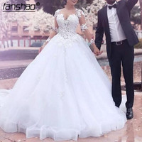 Muslim Wedding Dress Vestidos Noiva Arabic Wedding Dresses Ruffles Ball Gown Appliques Long Wedding Dress abiye abiti da sposa