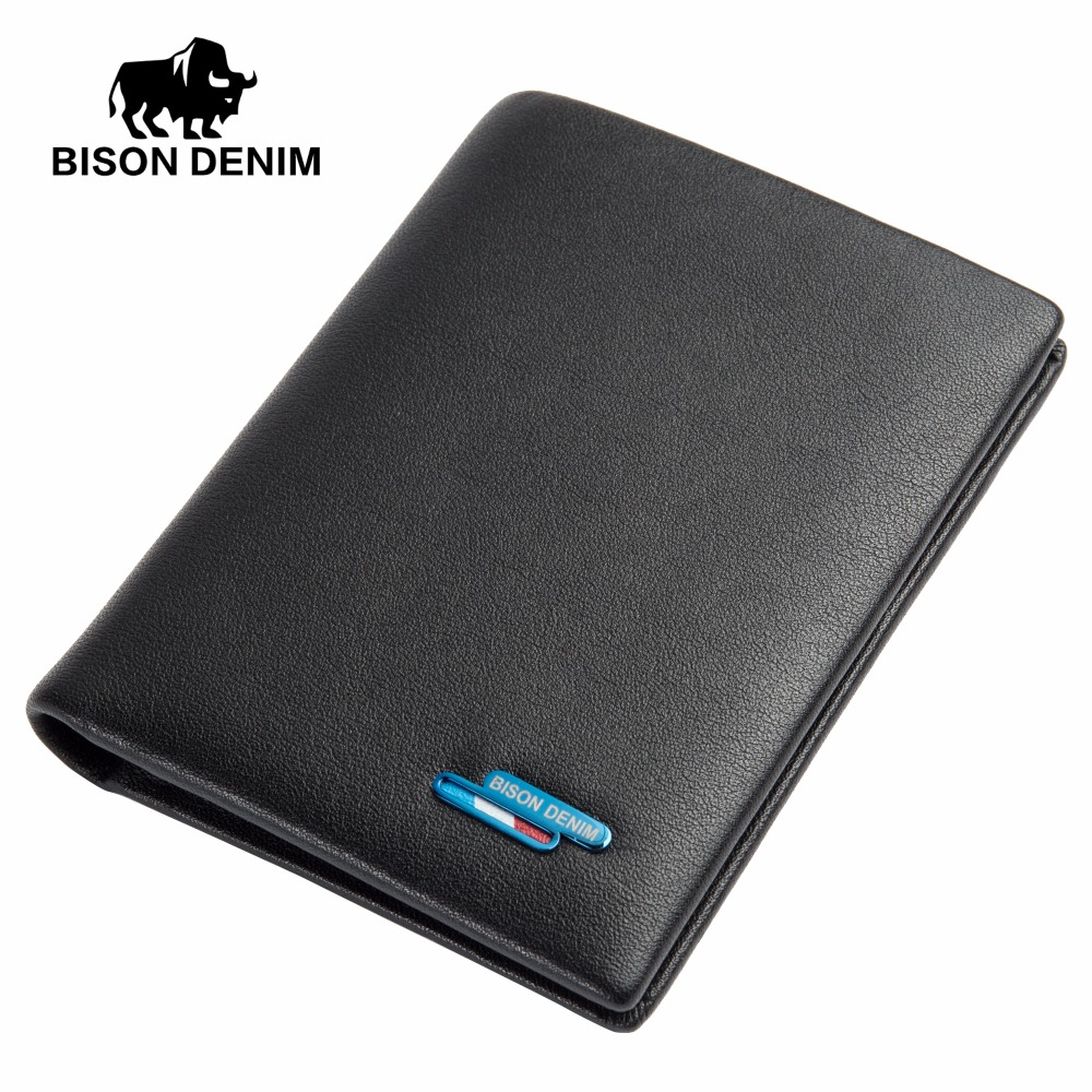 BISON DENIM Genuine Leather Short Wallet Casual Men Wallet Purse Dollar Price Standard Card Holders Wallets For Men N4449 anime cartoon wallet doctor who adventure time jack zelda and minions purse three fold wallets dollar price