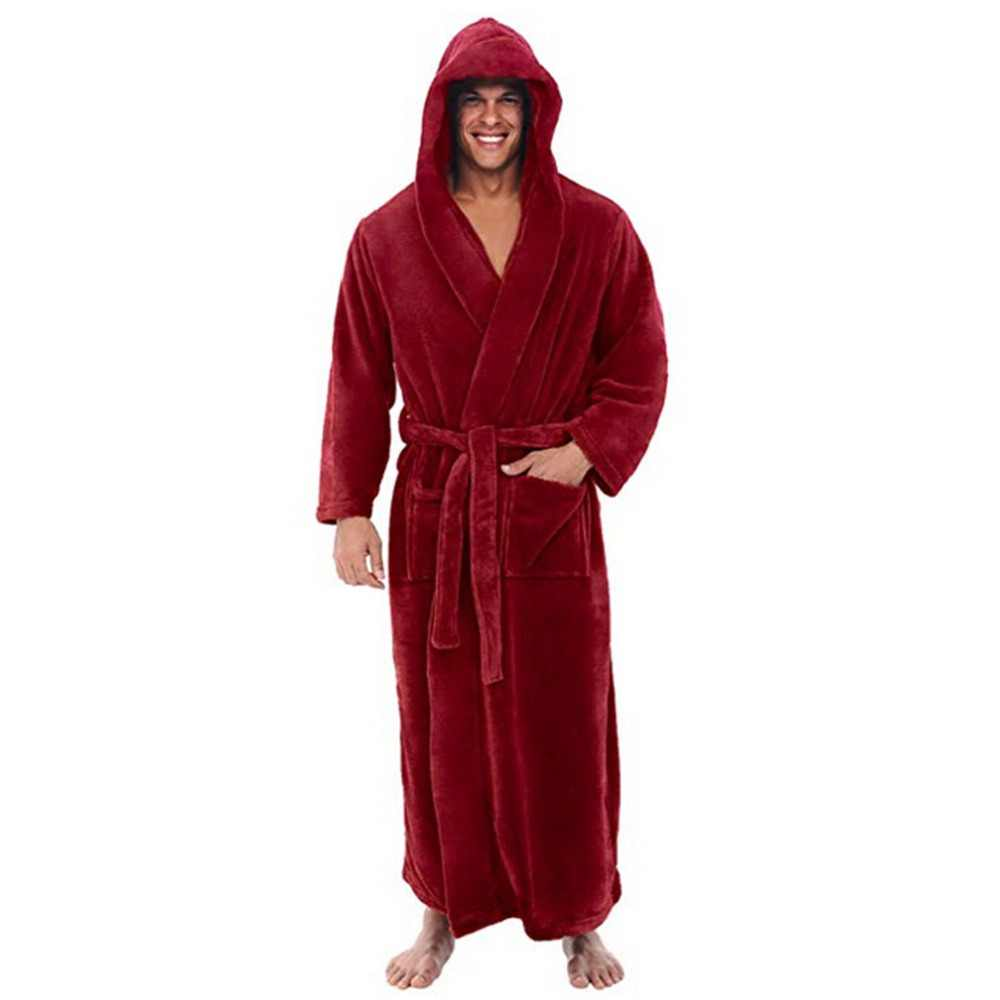 4655faacf0 ... Fashion Casual Mens Bathrobes Flannel Robe Hooded Long Sleeve Couple Men  Woman Robe Plush Shawl Kimono ...