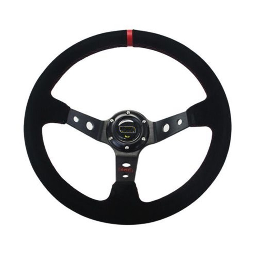 14 Inch Deep Dish Suede Leather Sport Racing Steering Wheel With Horn Button Aluminum Frame Steering Wheel Cover For ford ...