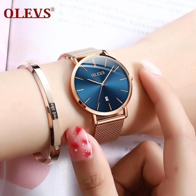 OLEVS Ultra dünne Damen Uhr Luxus Frauen Uhren Wasserdicht Rose Gold Stahl Quarz Datum Armbanduhr montre femme Uhr relogio