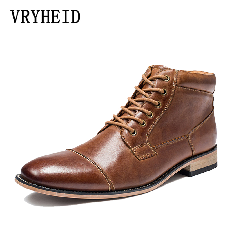 VRYHEID Brand Autumn And Winter Men Boots Big Size 40-50 Genuine Leather Vintage Brogue Men Shoes Casual Fashion Warm Boots Man