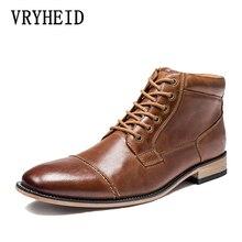 Vryheid Brand Hoge Kwaliteit Mannen Laarzen Big Size 40 50 Echt Leer Vintage Mannen Schoenen Casual Mode Herfst Winter enkellaarsjes