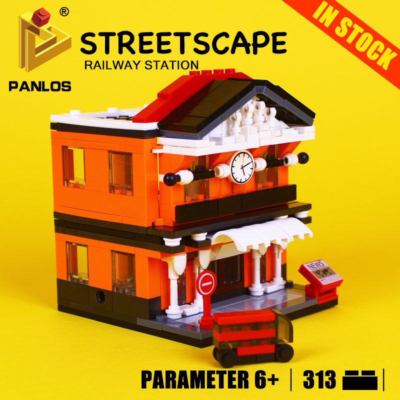 STREETSCAPE Model Building Toys hobbies RAILWAY STATION Creative Educational DIY Bricks kids Compatible With lego city