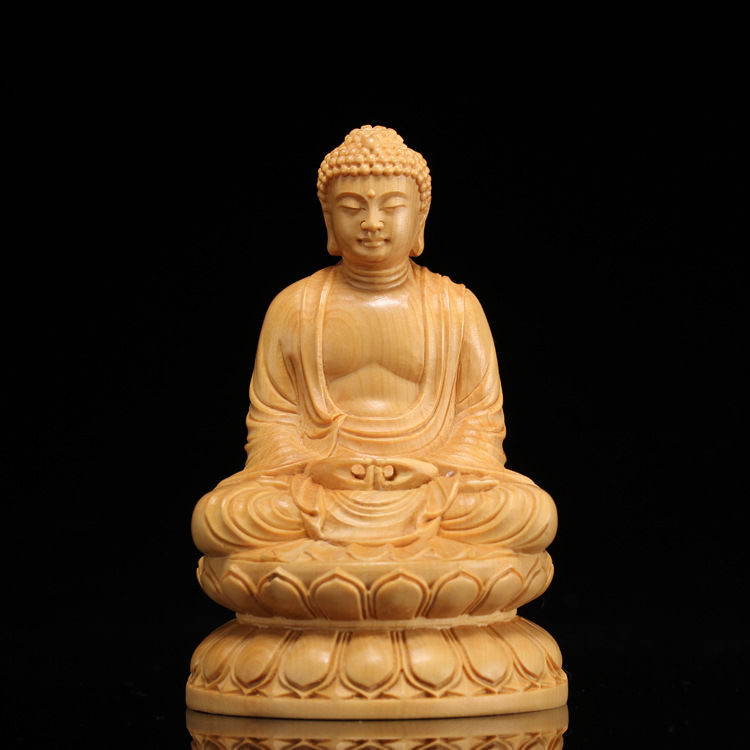 Wooden Buddha Statue figurines buda Shakyamuni Craft garden decors wood carving statues for home decoration