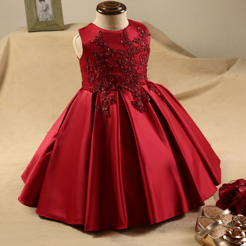 e9724fa86 Lindo vino rojo De satén Vestido De vestidos De niña De las flores ...
